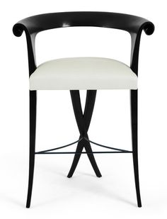Christopher Guy X-legged bistro stool ebony, white upholstery, elegant legs, bend