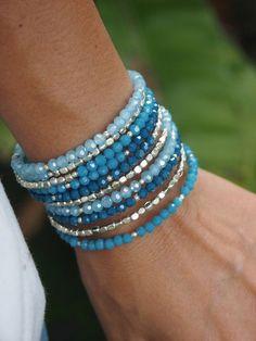 Blue crystal memory wire bracelet Boho Wrap Bracelet by Memory Wire Jewelry, Memory Wire Bracelets, Handmade Bracelets, Jewelry Bracelets, Handmade Jewelry, Bracelet Fil, Bracelet Making, Jewelry Making, Diy Schmuck