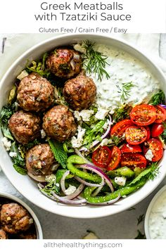 Greek Meatballs with Tzatziki Sauce - This recipe for flavorful juicy Greek meatballs filled with fresh herbs is a quick and easy recipe - Tzatziki Sauce, Greek Meatballs, Clean Eating, Healthy Eating, Dinner Healthy, Stop Eating, Albondigas, Greek Recipes, Kid Recipes