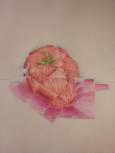 This is a still life of an apple I did in the form of Cubism