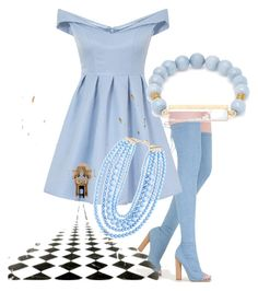 """""""Sunny Baby Blue"""" by arbernava ❤ liked on Polyvore featuring Chi Chi, BaubleBar and Elise M."""