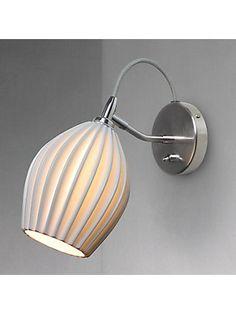 Original BTC Fin Ceramic Wall Light, Satin Chrome