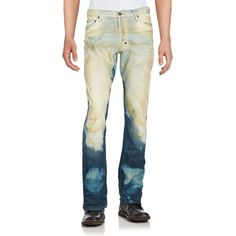 PRPS Canteen Washed Five-Pocket Jeans ($100) ❤ liked on Polyvore featuring men's fashion, men's clothing, men's jeans, indigo, mens faded jeans, men's 5 pocket jeans, prps mens jeans, mens jeans and mens denim jeans