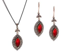 Marquise Shape Antique Ruby Gemstone Diamond Accent Blood Red Hurrem Sultan Style Vintage Drop and Dangle Earrings and Flower Leaf Finish Necklace Set Ottoman Curated Collection,http://www.amazon.com/dp/B00H4POW5I/ref=cm_sw_r_pi_dp_jgqBtb0W5Y06FQN7