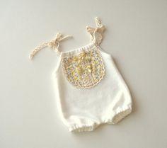 Newborn Photography Prop-Newborn Cream and Yellow Flowers Short Romper-Baby Girl Bodysuits-Newborn Romper-Newborn Girl Outfit-Newborn Props
