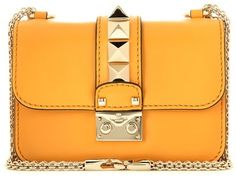 Valentino Lock Mini Orange Leather Shoulder Bag. Gold fixtures, including buckle and gold shoulder chain.