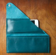 Leather Wrap Wallet The Constance in Deep Teal by RobbieMoto