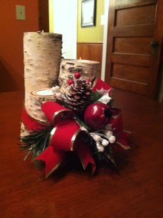 Christmas Centerpiece Making with Birch Logs and Votive Candles                                                                                                                                                                                 More