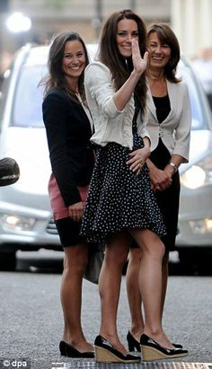 """The Middleton women wave to crowds outside the Goring Hotel on 28.April. 2011. The last night as """"normal"""" people. Tomorrow Catherine will become HRH Catherine, The Duchess of Cambridge. The future Queen Consort of Great Britain."""