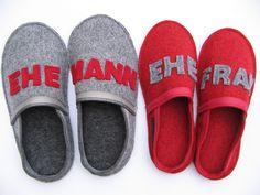 Hausschuhe für Ehemann und Ehefrau als Geschenk zur Hochzeit oder zum Hochzeitstag / slippers as present for the bride and groom by TapfereSchneiderin via DaWanda.com