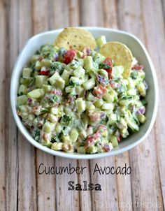 Mouthwatering yumminess with every bite, this fresh Cucumber Avocado Salsa will easily become a favorite.   I have a thing for chips and salsa.  It's my huge cheat day feast!  If you put a bowl of candy and/or dessert and a bowl of chips and salsa if front of me, I will devour the latter in a second. If it's not salsa, it's guacamole or bean dip or something else with fresh yummy ingredients like ...