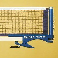 Stiga Pro Clip Net Set by Stiga. $35.95. STIGA Pro Clip net set has sturdy metal posts with adjustable tension. Quick install and removal with the clip system. Blue brackets and blue cotton net.
