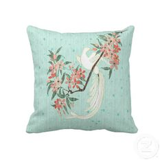 White Bird - Cherry Blossoms  (20x20)  - Beautiful handmade woven cotton pillow features artist, Leslie Sigal Javorek's original digital painting which emulates the look of a traditional Chinese scene of a graceful, white pheasant nestled on the branch of a Cherry Tree in bloom with blossoms of varying shades of soft pink & rose that has the appearance of being hand-painted on pastel aqua raw silk. Sold only @ www.zazzle.com/homearts?rf=238155573613991097&tc=pnt