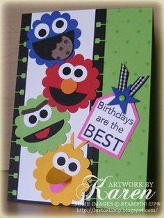 """Cool Sesame Street card by Karen Thomas, """"Luv To Stamp"""" Blogspot.  We've got Cookie Monster, Elmo, Groucho and Big Bird.  I wonder what Bert and Ernie are up to?!!!  A+A+A+A+A+A+ by Kimara"""