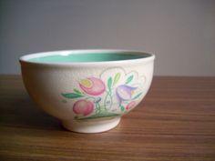 Vintage 1930/1940 Susie Cooper 'Dresden Spray' Turquoise Sugar Bowl