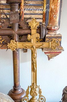 OMG Lg Church Processional Cross Antique Ornate by edithandevelyn