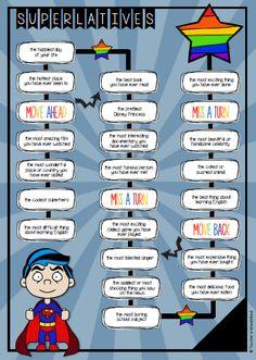 game board: comparison of adjectives superlatives