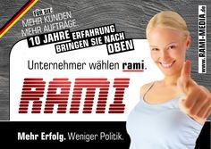 """Unternehmer wählen rami.  Unser Flyer zur Bundestagswahl 2013 konnte besonders online große Erfolge verzeichnen, aber war auch auf traditionellem Weg ein Hingucker. Ob es wohl an den langweiligen Werbeprospekten der """"anderen Parteien"""" lag? ;-)  Mehr von Rami: http://fb.rami-media.de"""