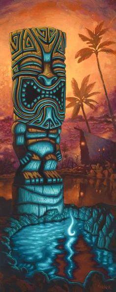 Fine Art Giclée Print by Brad Parker Blue Tiki against Hawaiian background Tiki Tattoo, Tiki Hawaii, Hawaiian Tiki, Hawaiian Background, Tiki Maske, Tiki Art, Tiki Tiki, Tiki Head, Western Saloon