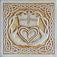 Celtic Claddagh relief carved ceramic tile by earthsongtiles