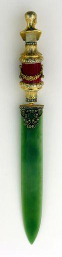 Fabergé letter opener -- jade, enamel, diamond, silver/gold letter