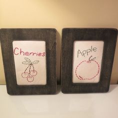 """50% OFF EVERYTHING NOW!!  GREAT DEALS ON GREAT ITEMS!!  2 Hand made Primitive Fruit Pictures Apple and Cherries 6 1/2 x 8 1/2"""""""