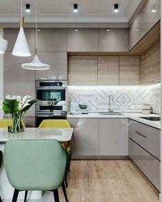 30 Modern Kitchen Interior Ideas To Inspire You Kitchen Cabinets Upper Idea Kitchen Room Design, Modern Kitchen Design, Home Decor Kitchen, Interior Design Kitchen, Home Kitchens, Kitchen Ideas, Kitchen Inspiration, Diy Kitchen, Kitchen Hacks