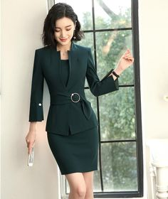 New Style 2018 Fashion Grey Blazer Women Business suits Dress and and Jacket Sets Ladies Office Uniform Designs - Woman Jackets and Blazers Business Outfits, Business Attire, Office Outfits, Business Suits For Women, Women Business Fashion, Office Dresses For Women, Clothes For Women, Office Uniform For Women, Office Ladies