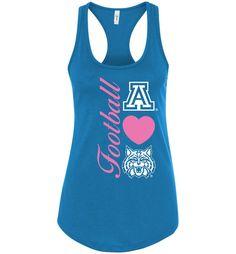 NCAA University of Arizona Wildcats U of A - Football Heart - Next Level Racerback Tank - uofa2462