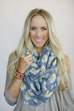 Fashion Infinity Scarf, Printed Loop Scarf, Women's Bohemian Scarf, Floral Print Infinity, Daisy Chain Scarf (SCF-3765) on Etsy, $38.00