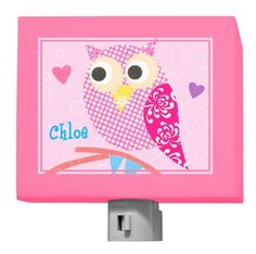 """Mod Owl on Pink"" Personalized Night Light for Gals by Rachel Taylor for Oopsy Daisy, Fine Art for Kids"