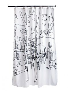 Hetkiä/Moments shower curtain (white,black) | Décor, Bathroom, Shower Curtains & Bath Mats | Marimekko