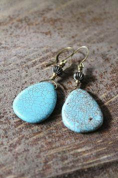 Turquoise Magnesite Earrings size 52mmx25mm by HavenHummingbird, $15.00