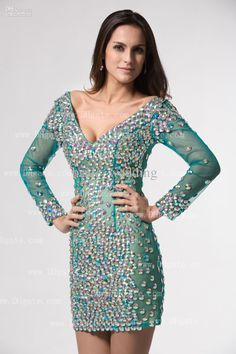 long sleeve short beaded cocktail dresses - Google Search