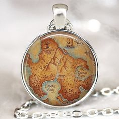 $14.81 Peter Pan Neverland map necklace , Once upon a time necklace Peter Pan jewelry Round bezel glass dome pendant , fairy fantasy jewelry