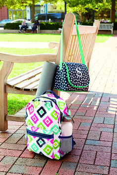 Send them off to school in Sping Style! Featured Styles: Going My Way Backpack in Candy Corners and the Going Places Thermal in Navy Doodle Dot. WWW.mythirtyone.com/AnnieLevitt