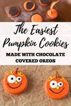 These chocolate covered Oreos make cute fall or Halloween pumpkin treats! Make these as Halloween cookies with your kids, or bring these treats as a fall party dessert. Cute chocolate covered Oreos have never been so easy! Visit the blog for the full tutorial on how to make these pumpkin cookies out of chocolate and Oreos! #thebearfootbaker #halloweencookies #halloweenpartyfood #halloweentreat ideas Fun Halloween Treats, Halloween Cookies, Halloween Pumpkins, Halloween Decorations, Pumpkin Cookies, Sugar Cookies, Chocolate Covered Oreos, Party Desserts, How To Make Chocolate
