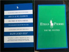 Ethan's Ralph Lauren Polo Club Themed Party – Invites