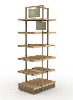 Product presenter designed by studio a. Aqua, Shelving, Presents, Retail, Studio, Design, Home Decor, Modern Table, Shelves