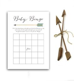 Baby Shower Game Bingo Rustic Tribal Arrow Instant Download Printable
