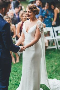 This Virginia Bride Stole The Show With A Stunning Embroidered Wedding Cape She Found On Etsy - Wedding Dresses - Princess Wedding Dresses, Dream Wedding Dresses, Wedding Gowns, Wedding Dresses With Cape, Wedding Cape Veil, Wedding Dress Collar, Green Wedding Shoes, Bridal Cape, Bridal Gowns