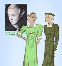 1930s Original Vintage Hollywood Starlet Pattern 1196 Bette Davis Princess Dress #Hollywood #PrincessDressPattern