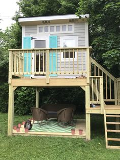 x two story playhouse with plenty of natural light and a yoga platform be. Backyard Fort, Backyard Playground, Backyard For Kids, Backyard Playhouse, Wooden Playhouse, Playhouse Ideas, Outdoor Forts, Kids Clubhouse, Tree House Plans