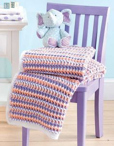 Crochet the Playful Ripple Afghan Pattern for Baby Easy Crochet Blanket, Baby Afghan Crochet, Crochet Quilt, Baby Afghans, Crochet Blanket Patterns, Crochet Yarn, Crochet Hooks, Baby Blankets, Stitch Patterns