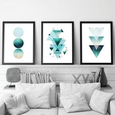 Aqua teal turquoise and silver geometric wall art set of 3 | Etsy Skandinavisch Modern, Modern Prints, Geometric Poster, Geometric Wall Art, Wall Art Sets, Wall Art Decor, Poster Minimalista, Pink Bedroom Decor, Deco Rose