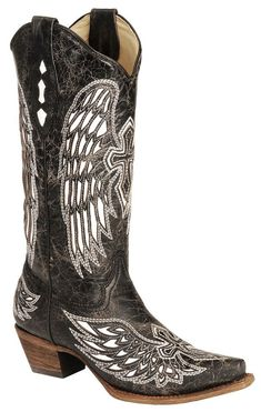 Shop Women's Corral Black size 7 Shoes at a discounted price at Poshmark. Description: Corral distressed black and white cross and wing inlay cowgirl boots, square toe. Corral Cowgirl Boots, Cowboy Boots Women, Western Boots, Country Boots, Country Outfits, Western Wear, Corral Boots Womens, Dresses With Cowboy Boots, Cowgirl Outfits