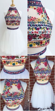 White homecoming dresses, Dresses, Floral homecoming dresses, Embroidery dress, Prom dresses, Fashion dresses - Two Piece Short Embroidery Floral White Homecoming Dress,M0609 -  #Whitehomecoming #dresses