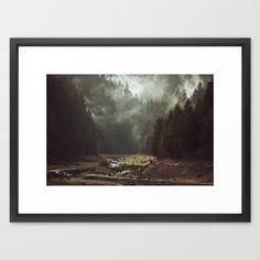 Foggy Forest Creek Framed Art Print