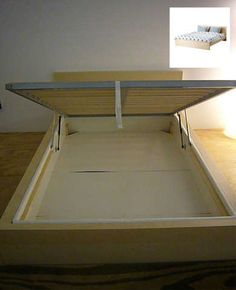IKEA hack - use a full-sized Malm bed frame and insert a Sultan Alsarp mattress base inside (it has the built-in lifing… Malm Bed Frame, Diy Bed Frame, Diy Storage Bed, Under Bed Storage, Storage Ideas, Bedroom Storage, Extra Storage, Clothes Storage, Ikea Storage