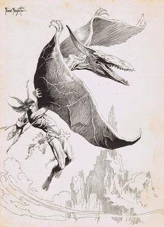 Cap'n's Comics: Tarzan At the Earth's Core(methinks) by Frank Frazetta